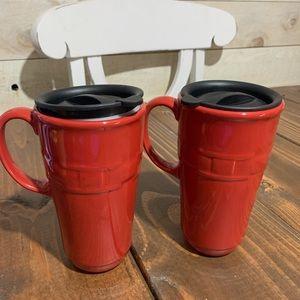 Longaberger woven traditions paprika travel mug